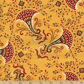 Give Thanks Cornucopia Cotton Fabric - Yellow Wheat 19562-17