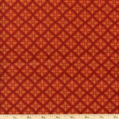 Give Thanks Grid Cotton Fabric - Berry Red 19566-15