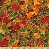 Give Thanks Leaves Cotton Fabric - Brown 19563-12