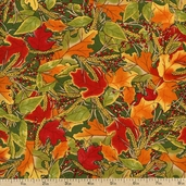 Give Thanks Leaves Cotton Fabric - Green 19563-15