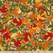 Give Thanks Leaves Cotton Fabric - Vanilla 19563-16