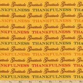 Give Thanks Words Cotton Fabric - Yellow Wheat 19561-17
