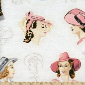 Glamour Girls Hats Cotton Fabric - Blush AOC-13965-96 BLUSH