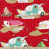 Glamping Campsite Cotton Fabric - Red 11601-17