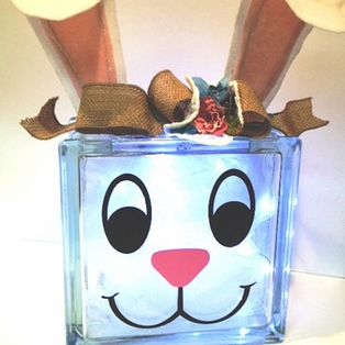 Glass Block Bunny Light