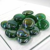 Glass Jumbo Gems - Forest Green Luster