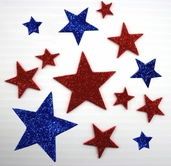 Glitter Foam Stickers - Blue/White Stars - CLEARANCE