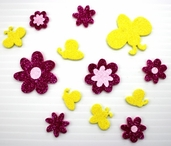 Glitter Foam Stickers - Flowers and Bees