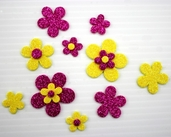 Glitter Foam Stickers - Flowers in Pink and Yellow