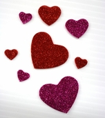 Glitter Foam Stickers - Hearts in Pink and Red - CLEARANCE