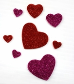 Glitter Foam Stickers - Hearts - Pink - CLEARANCE