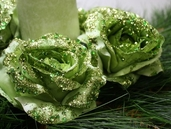 Glittered Rose Head Clip - Green - Package of 12 - Clearance