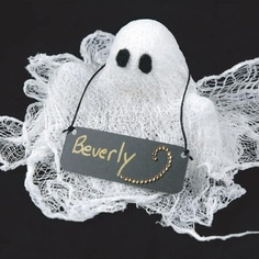 Glitzy Ghost Halloween Place Card