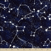 Glow in the Dark Constellations Cotton Fabric - Midnight