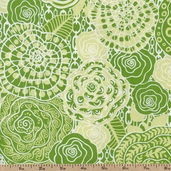 Go Girl Rose and Chains Cotton Fabric - Green TD66 - Clearance