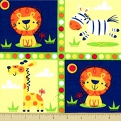 Go Safari Cotton Fabric - 6 Row Panel - Multi