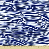 Go Safari Cotton Fabric - Zebra Stripe - Blue