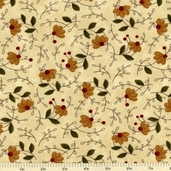 Gobble Gobble Floral Cotton Fabric - Beige