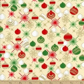 Golden Christmas Ornaments Cotton Fabric - Cream