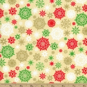 Golden Christmas Snowflakes Cotton Fabric - Cream