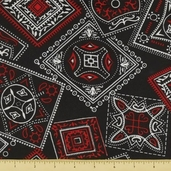 Golden D'or Novelty Cotton Fabric - Large Paisley - Black - Clearance