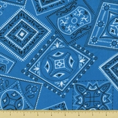 Golden D'or Novelty Cotton Fabric - Large Paisley - Bright Blue - Clearance