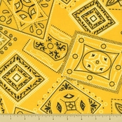 Golden D'or Novelty Cotton Fabric - Large Paisley - Yellow - CLEARANCE