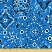 Golden D'or Novelty Cotton Fabric - Medium Paisley - Bright Blue