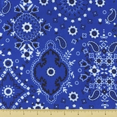 Golden D'or Novelty Cotton Fabric - Medium Paisley - Royal Blue - Clearance