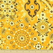 Golden D'or Novelty Cotton Fabric - Medium Paisley - Yellow