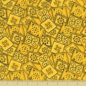 Golden D'or Novelty Cotton Fabric - Packed Paisley - Yellow - Clearance