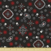 Golden D'or Novelty Cotton Fabric - Small Paisley - Black - Clearance