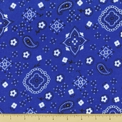 Golden D'or Novelty Cotton Fabric - Small Paisley - Royal Blue - Clearance
