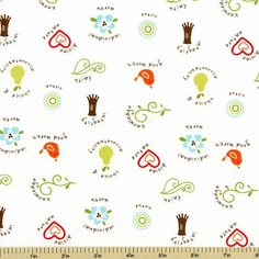 Good Life Small Floral Toss Cotton Fabric - Cream C2882