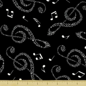 Good Vibrations Cotton Fabric - Notation Toss - Black