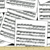 Good Vibrations Cotton Fabric - Sheet Music - White