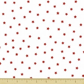 Goodnight Spot Cotton Fabric - Stars - Red and White