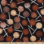 Got the Munchies Cake Pops Cotton Fabric - Chocolate FOOD-C1312