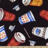 Got the Munchies Coffee Cups Cotton Fabric - Black FOOD-C9615