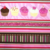 Got the Munchies Cotton Fabric - Cupcakes and Candles Pink