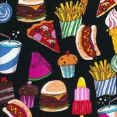 Got the Munchies Cotton Fabric - Fun Black