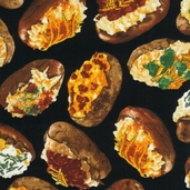 Got the Munchies Cotton Fabric - Loaded Baked Potatoes Black