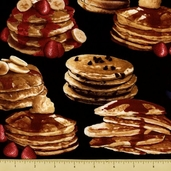 Got the Munchies Cotton Fabric - Pancakes Black