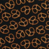Got the Munchies Cotton Fabric - Pretzels Black