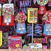 Got the Munchies Gumball Machines Cotton Fabric - Black FUN-C9272
