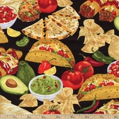 Got The Munchies Mexican Food Cotton Fabric - Black