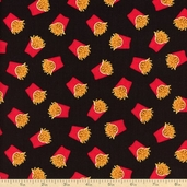 Got The Munchies Mini French Fry Cotton Fabric - Black