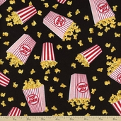 Got The Munchies Mini Popcorn Cotton Fabric - Black