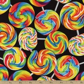 Got the Munchies Swirl Lollipops Cotton Fabric - Black FOOD-C9759