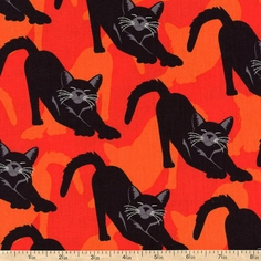Gothic Glam Bewitched Cotton Fabric - Orange